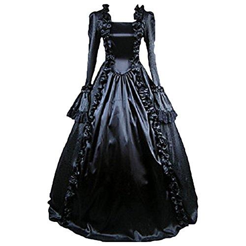 Gothic Partiss Lolita Langarm Bodenlangen Kleider Vintage Ballkleider Schwarz Damen 7q5WqTH