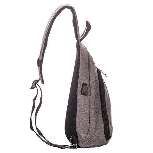 Lightweight Canvas Sling Bag - Casual Travel Backpack with USB Charging Port for men and women