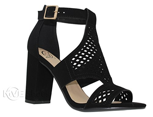 03b66abfc01f MVE Shoes Women s Open Toe Cut Out Chunky Heel Sandal