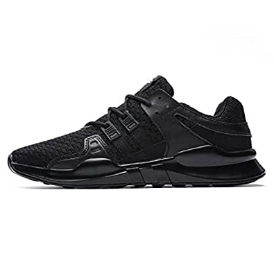 FUSHITON Men's Lightweight Breathable Running Shoes Comfortable Mesh Sports Athletic Sneakers Fashion Casual Walking Lace-up Roading Shoes, US 6, Black