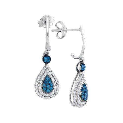 1/2 Total Carat Weight BLUE DIAMOND FASHION EARRINGS by Jawa Fashion