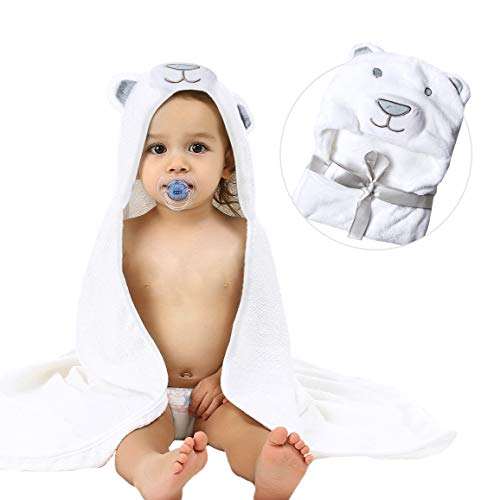 Baby Hooded Bath Towels,Animal Face Design for Kids, Large Size 30in × 36in ()