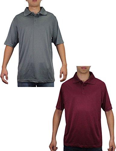 (Pack of 2) Reebok Mens Short Sleeve Dri-Fit Athletic Golf Shirts XL Grey & Dark Red