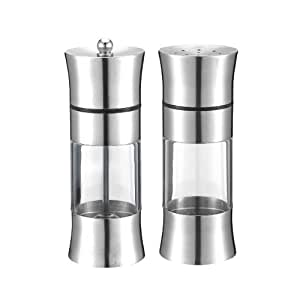 ?Stainless steel acrylic pepper mill, suits, hand grinder, moving salt mill, seasoning bottles