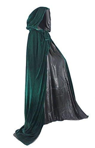 Sca Costumes (ANGELWARDROBE Halloween Hooded Cloak MEDIEVAL Various Colors Wedding Cape SCA Green-Black-L)