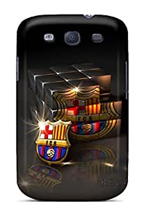 For Galaxy S3 Tpu Phone Case Cover(barcelona Fc Logo In Cubic Glass)
