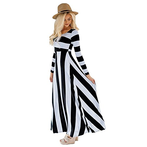 Birdfly Fall Cute Countryside Style Vintage Black-White Striped Patchwork Slim fit High Waist Maxi Dress in Apricot for Women Holiday (XL, Black)