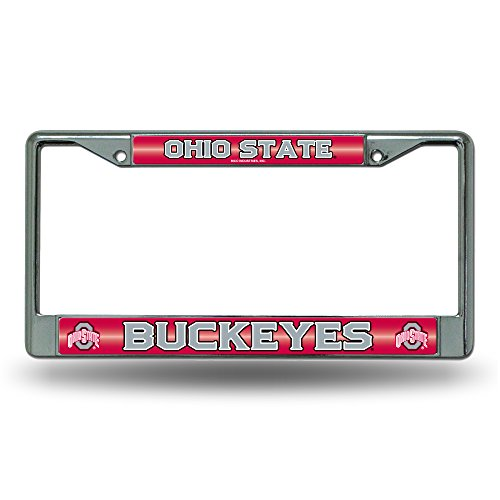NCAA Ohio State Buckeyes Bling Chrome License Plate Frame with Glitter ()