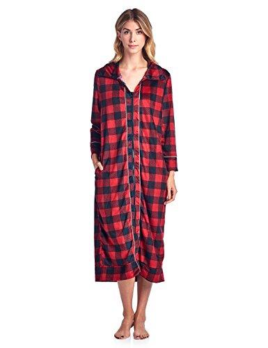 Price comparison product image Ashford & Brooks Women's Long Zip Up Mink Fleece Lounger Robe - Red Buffalo Check - X-Large