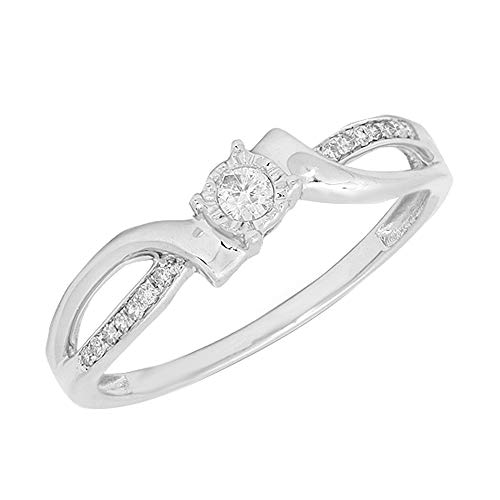(0.15 TCW Round Cut Natural Diamond Solid 10k White Gold Promise Engagement Ring 7)