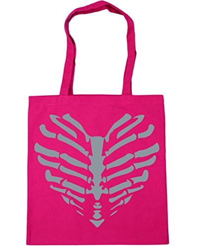 Gym ribs heart cage Shopping x38cm Fuchsia HippoWarehouse Tote bones litres Beach 10 42cm Bag aqE1wxaYn