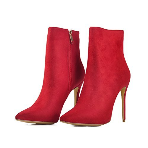 Dress Heels Side Booties Shoes onlymaker Toe Zipper Boots Ankle Red for Pointed High Women w8vfTYq