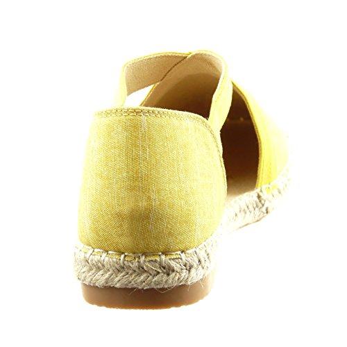 Sopily - damen Mode Schuhe Ballerina Espadrilles Slip-On Seil glänzende - Gelb