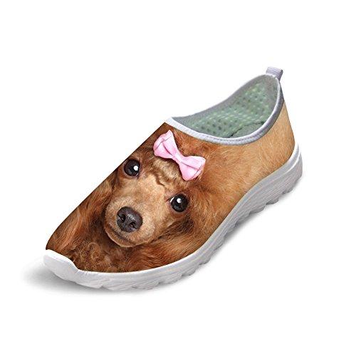 Para U Diseños Unisex Elegante Lindo Gato Perro Búho Animal Patrón De Malla Cómodo Deslizamiento En Zapatillas Poodle 1