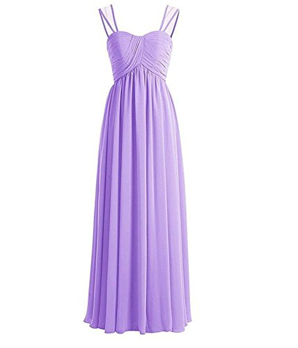 Pleated Bridesmaid line Lavender Dress Long Women's Dresses Prom Party Chiffon A Sweetheart YTqOw