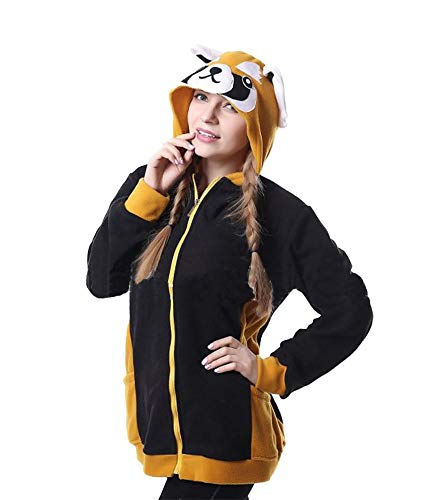 TOKYO-T Raccoon Hoodie for Women Plus Size Animal Hooded Coat with Zipper Costume Halloween Size -