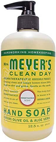 Mrs Meyers Hand Soap Honey Suckle 12.5 Ounce Pump (370ml) (3 Pack)
