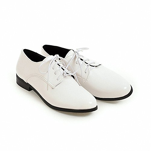 Women's up flat leather Hecater Wingtip Shoes PU Lace White patent Oxford 3 UwnxAgd
