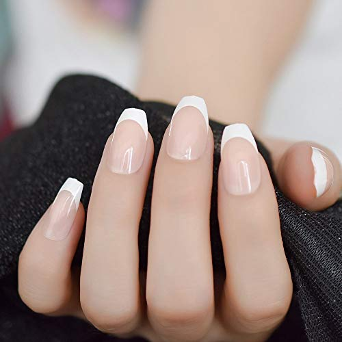 Finger Nail Art For Halloween (CoolNail natural Nude White French Coffin False Fake Nails Press on Flat Ballerina Nails Art Tips Daily Office Finger Wear Manicure)