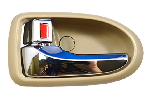 PT Auto Warehouse MA-2801ME-LH - Inside Interior Inner Door Handle, Beige/Tan Housing with Chrome Lever - Driver - Mpv Mazda Interior