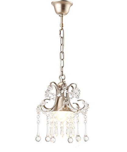 LuFun 1-Light K9 Clear Crystal Chandeliers,Crystal Pendant Light,Ceiling Light Fixtures for Living Room Bedroom Restaurant Porch Entryway (Champagne)