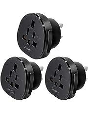 SAA Approved UK/US/JP/CA to AU/NZ Adaptor Plug with Insulated Pins, UK/US Plug Convert to 3-Pin Australian/New Zealand/China Socket (1 Piece Black)