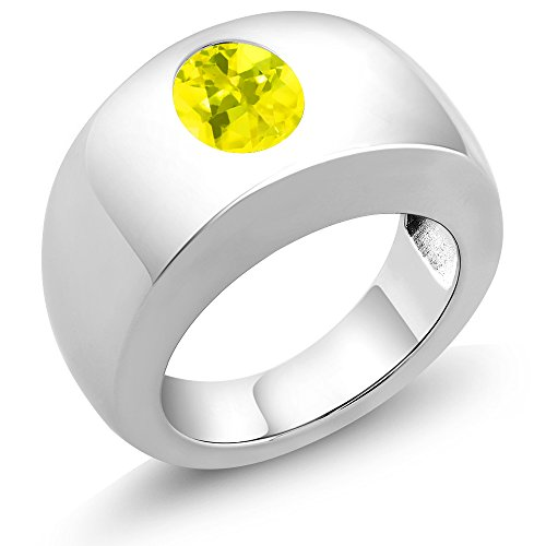 (Gem Stone King 1.80 Ct Oval Canary VS Mystic Topaz 925 Sterling Silver Men's Solitaire Ring (Size 8))