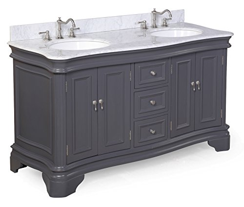 Kitchen Bath Collection KBC-A602GYCARR Katherine Double Sink Bathroom Vanity with Marble Countertop, Cabinet with Soft Close Function and Undermount Ceramic Sink, Carrara/Charcoal Gray, 60