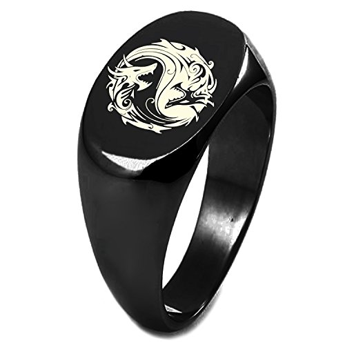 Black IP Plated Sterling Silver Tribal Dragon Yin Yang Symbol Oval Flat Top Polished Ring, Size 8 ()