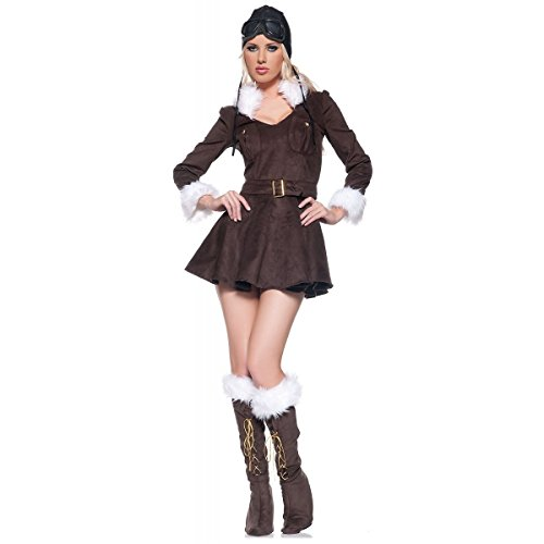 Red Baroness Pilot Costume - Large - Dress Size 12-14