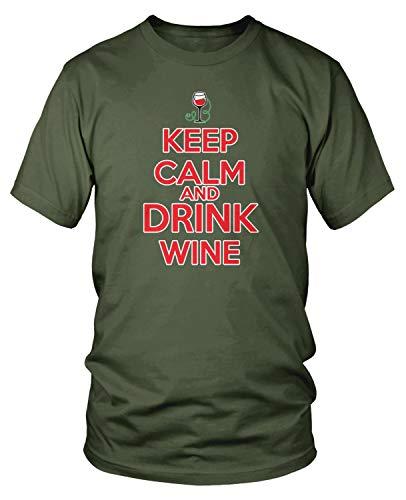 (Amdesco Men's Keep Calm and Drink Wine T-Shirt, Moss Green Medium)