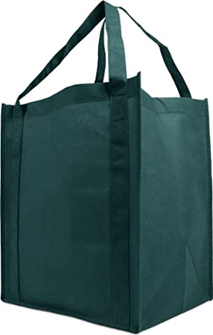Reusable Reinforced Handle Grocery Tote Bag Large 10 Pack - Hunter Green - Eco Large Tote Bag