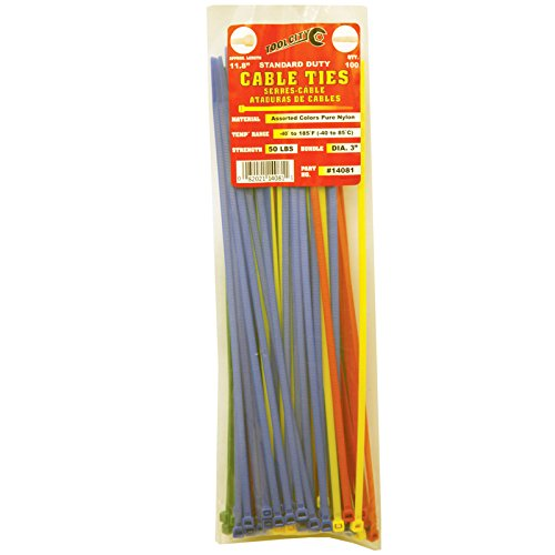 Tool City 14081 Cable Tie, Assorted Colors, 11.8''