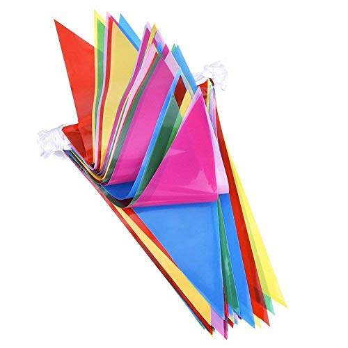 Caryo 150pcs Multicolor Pennant Banner Bunting Flags 250 Ft for Festival Party Celebration Events Nylon Fabric Decorations Flags