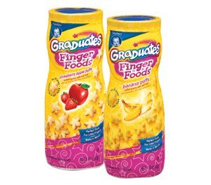 Gerber Finger Foods Puffs, 3 Strawberry and Apple Puffs and 3 Banana Puffs(6 per Pack) by Gerber