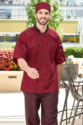Uncommon Threads Unisex  Havana Chef Coat Ss Mesh Blk Trm, Burgundy, - Uncommon Threads Chef