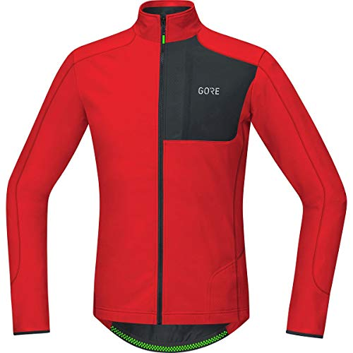 - GORE WEAR Men's Breathable Long Sleeve Jersey, C5 Thermo Trail Jersey, XL, Red/Black, 100373
