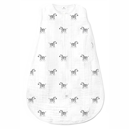 Amazing Baby Muslin Sleeping Sack with 2-Way Zipper, Zebra, Black, Medium