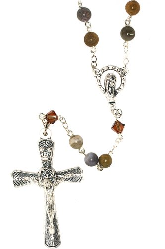 Catholic Prayer Rosary made with Ocean Jasper Gemstones and Swarovski Crystals