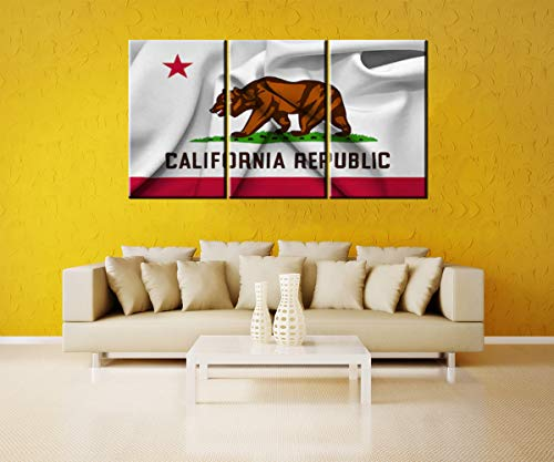 (Pictures State of California Flag Canvas Prints Wall Art Living Room Decor United States of America Home Decoration Poster Modern Artwork Wooden Framed Art Ready to Hang(60''Wx32''H))