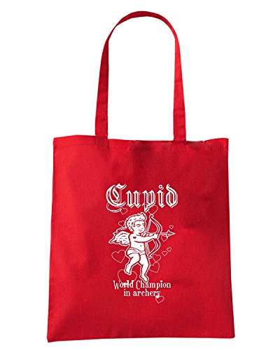 T-Shirtshock - Bolsa para la compra T0407 cupido world champion in archery arti marziali Rojo