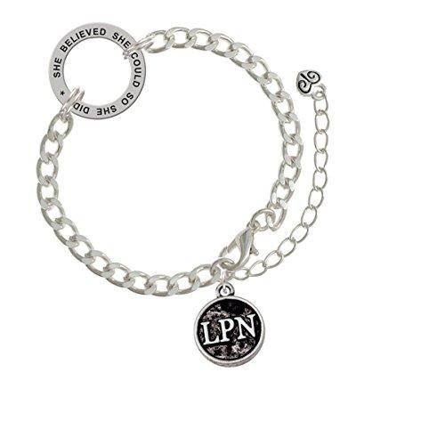 Silvertone Nurse Caduceus Seal - LPN She Believed She Could Link Charm Bracelet, 8.5