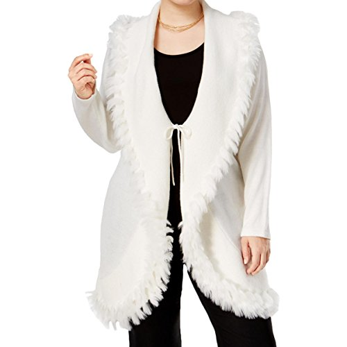 Designer Cardigan Sweater (Alfani Womens Plus Fur Trim Tie Front Cardigan Sweater White 2X)