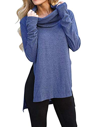 (Naggoo Womens Top Long Sleeve Basic Cowl Neck Fashion Slimming Tunic Shirts Blue M)