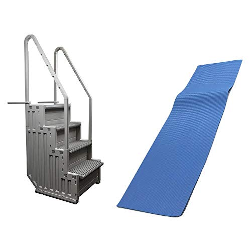 Confer Step-1 Above Ground Swimming Pool Ladder & Swimline 9x36 Ladder Mat