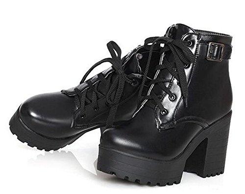 Happylive Shopping Womens Moda Inverno Impermeabile Piattaforma Combattimento Ankle-high Tacco Alto Stivali Chunky, Lace-up Stivali Martin Nero