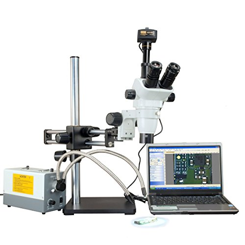 OMAX 2X-270X 14MP Digital Simul-Focal Zoom Stereo Microscope with 150W Cold Y Fiber Light and Ball Bearing Double Bar Boom Stand