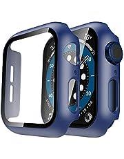 TAURI 2-pack hårt fodral kompatibelt med Apple Watch SE serie 6 5 44 mm inbyggt 9H härdat glas skärmskydd smal stötfångare beröringskänsligt fullständigt skyddande fodral kompatibel med iWatch 44 mm – blå
