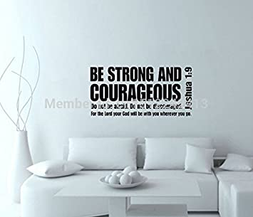 Josué Be Strong And Courageous 1:9 Bible Verse To Mother Writing Wall  Stickers Home