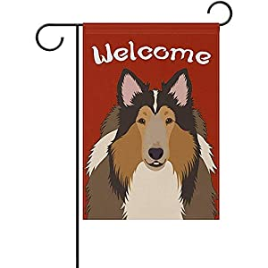 GRATIANUS Welcome Rough Collie Dog Garden Flag Yard Flag Banner for House Outdoor Decor 12 x 18 Inch 1